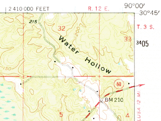 Reduced fragment of topographic map en--usgs--063k--054222--(1958)--N030-45_W090-15--N030-30_W090-00; towns and cities Folsom