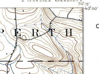 Reduced fragment of topographic map en--usgs--063k--054224--(1898)--N043-00_W074-30--N042-45_W074-15; towns and cities Fonda, Fultonville, Tribes Hill