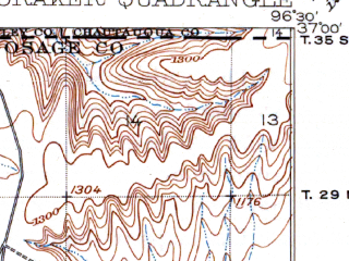 Reduced fragment of topographic map en--usgs--063k--054229--(1916)--N037-00_W096-45--N036-45_W096-30; towns and cities Foraker, Grainola, Shidler