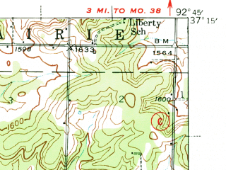 Reduced fragment of topographic map en--usgs--063k--054230--(1939)--N037-15_W093-00--N037-00_W092-45; towns and cities Diggins, Fordland, Seymour