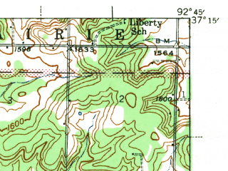 Reduced fragment of topographic map en--usgs--063k--054230--(1942)--N037-15_W093-00--N037-00_W092-45; towns and cities Seymour, Diggins, Fordland