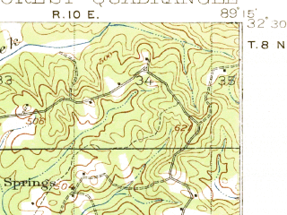 Reduced fragment of topographic map en--usgs--063k--054235--(1922)--N032-30_W089-30--N032-15_W089-15; towns and cities Forest, Lake, Conehatta