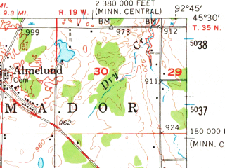 Reduced fragment of topographic map en--usgs--063k--054241--(1955)--N045-30_W093-00--N045-15_W092-45 in area of Forest Lake, Green Lake, Chisago Lake; towns and cities Forest Lake, Center City, Chisago City, Lindstrom