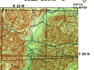 Reduced fragment of topographic map en--usgs--063k--054244--(1939)--N048-00_W124-30--N047-45_W124-15; towns and cities Forks