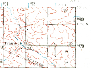 Reduced fragment of topographic map en--usgs--063k--054246--(1942)--N042-15_W089-45--N042-00_W089-30; towns and cities Forreston, Shannon