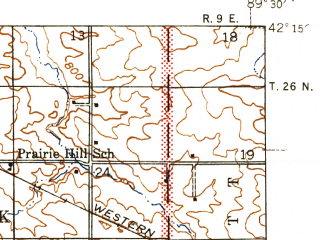 Reduced fragment of topographic map en--usgs--063k--054246--(1945)--N042-15_W089-45--N042-00_W089-30; towns and cities Forreston, Shannon