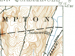 Reduced fragment of topographic map en--usgs--063k--054248--(1893)--N043-30_W073-30--N043-15_W073-15; towns and cities Fort Ann, Granville