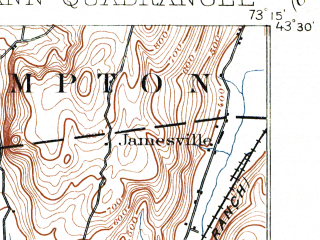 Reduced fragment of topographic map en--usgs--063k--054248--(1901)--N043-30_W073-30--N043-15_W073-15; towns and cities Fort Ann, Granville