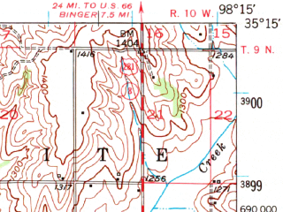 Reduced fragment of topographic map en--usgs--063k--054259--(1951)--N035-15_W098-30--N035-00_W098-15; towns and cities Fort Cobb, Gracemont