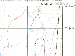 Reduced fragment of topographic map en--usgs--063k--054260--(1906)--N040-45_W105-15--N040-30_W105-00 in area of Horsetooth Reservoir; towns and cities Fort Collins, Wellington