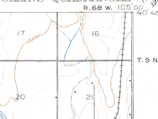 Reduced fragment of topographic map en--usgs--063k--054260--(1908)--N040-45_W105-15--N040-30_W105-00 in area of Horsetooth Reservoir; towns and cities Fort Collins, Wellington
