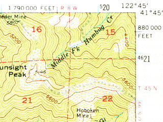 Reduced fragment of topographic map en--usgs--063k--054276--(1955)--N041-45_W123-00--N041-30_W122-45; towns and cities Fort Jones