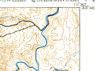 Reduced fragment of topographic map en--usgs--063k--054285--(1906)--N033-45_W111-45--N033-30_W111-30; towns and cities Fountain Hills