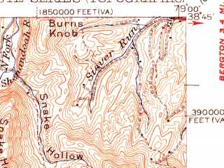 Reduced fragment of topographic map en--usgs--063k--054297--(1951)--N038-45_W079-15--N038-30_W079-00