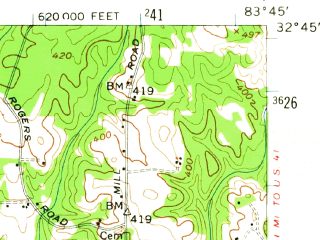 Reduced fragment of topographic map en--usgs--063k--054302--(1956)--N032-45_W084-00--N032-30_W083-45; towns and cities Fort Valley, Byron