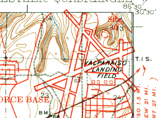 Reduced fragment of topographic map en--usgs--063k--054303--(1938)--N030-30_W086-45--N030-15_W086-30; towns and cities Fort Walton Beach, Wright, Lake Lorraine, Ocean City, Eglin Afb