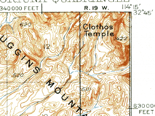 Reduced fragment of topographic map en--usgs--063k--054328--(1926)--N032-45_W114-30--N032-30_W114-15; towns and cities Fortuna Foothills