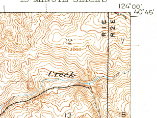 Reduced fragment of topographic map en--usgs--063k--054329--(1944)--N040-45_W124-15--N040-30_W124-00; towns and cities Fortuna, Humboldt Hill, Hydesville, Pine Hills