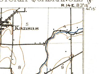 Reduced fragment of topographic map en--usgs--063k--054333--(1903)--N041-15_W083-30--N041-00_W083-15; towns and cities Fostoria, New Riegel, West Millgrove