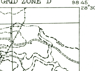 Reduced fragment of topographic map en--usgs--063k--054347--(1956)--N028-30_W099-00--N028-15_W098-45