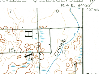Reduced fragment of topographic map en--usgs--063k--054348--(1908)--N042-45_W084-15--N042-30_W084-00; towns and cities Fowlerville, Webberville