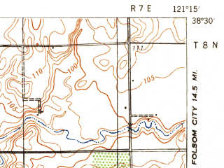 Reduced fragment of topographic map en--usgs--063k--054361--(1941)--N038-30_W121-30--N038-15_W121-15; towns and cities Florin, Elk Grove, Galt, Laguna