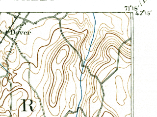 Reduced fragment of topographic map en--usgs--063k--054367--(1893)--N042-15_W071-30--N042-00_W071-15; towns and cities Medfield, Franklin, Millis-clicquot, Bellingham, Dover