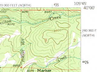 Reduced fragment of topographic map en--usgs--063k--054372--(1957)--N040-00_W106-00--N039-45_W105-45; towns and cities Winter Park, Fraser