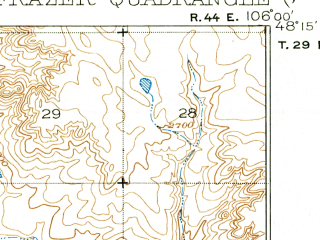 Reduced fragment of topographic map en--usgs--063k--054373--(1915)--N048-15_W106-15--N048-00_W106-00; towns and cities Frazer