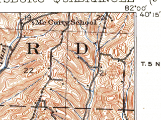 Reduced fragment of topographic map en--usgs--063k--054374--(1910)--N040-15_W082-15--N040-00_W082-00 in area of Dillion Lake; towns and cities Dresden, Frazeysburg