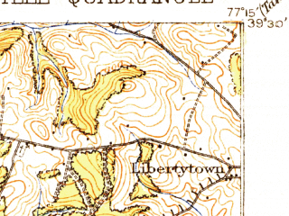 Reduced fragment of topographic map en--usgs--063k--054378--(1908)--N039-30_W077-30--N039-15_W077-15; towns and cities Frederick, Ballenger Creek, Clover Hill, Discovery-spring Garden, Linganore-bartonsville