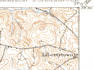 Reduced fragment of topographic map en--usgs--063k--054378--(1909)--N039-30_W077-30--N039-15_W077-15; towns and cities Frederick, Ballenger Creek, Clover Hill, Discovery-spring Garden, Linganore-bartonsville