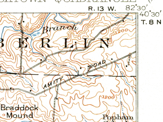 Reduced fragment of topographic map en--usgs--063k--054381--(1915)--N040-30_W082-45--N040-15_W082-30; towns and cities Sparta, Centerburg, Chesterville
