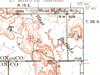 Reduced fragment of topographic map en--usgs--063k--054383--(1938)--N037-45_W096-00--N037-30_W095-45; towns and cities Coyville, Fredonia, New Albany