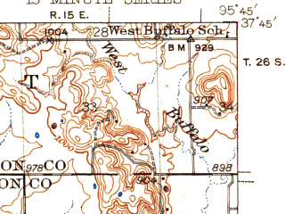 Reduced fragment of topographic map en--usgs--063k--054383--(1942)--N037-45_W096-00--N037-30_W095-45; towns and cities Coyville, Fredonia, New Albany