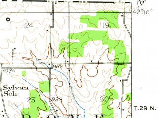 Reduced fragment of topographic map en--usgs--063k--054393--(1939)--N042-30_W089-45--N042-15_W089-30; towns and cities Freeport, Cedarville, Dakota, Orangeville