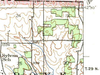 Reduced fragment of topographic map en--usgs--063k--054393--(1944)--N042-30_W089-45--N042-15_W089-30; towns and cities Freeport, Cedarville, Dakota, Orangeville