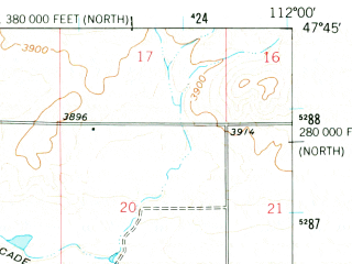 Reduced fragment of topographic map en--usgs--063k--054398--(1960)--N047-45_W112-15--N047-30_W112-00 in area of Davis Lake