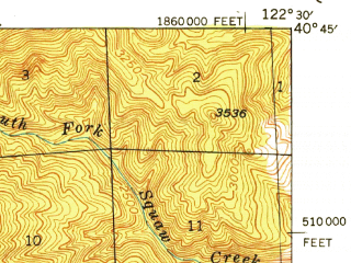 Reduced fragment of topographic map en--usgs--063k--054404--(1948)--N040-45_W122-45--N040-30_W122-30 in area of Whiskeytown Lake
