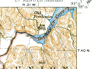 Reduced fragment of topographic map en--usgs--063k--054418--(1945)--N038-15_W093-30--N038-00_W093-15; towns and cities Warsaw