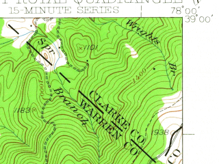 Reduced fragment of topographic map en--usgs--063k--054419--(1939)--N039-00_W078-15--N038-45_W078-00; towns and cities Front Royal