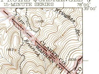 Reduced fragment of topographic map en--usgs--063k--054419--(1944)--N039-00_W078-15--N038-45_W078-00; towns and cities Front Royal