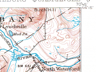 Reduced fragment of topographic map en--usgs--063k--054425--(1909)--N044-15_W071-00--N044-00_W070-45 in area of Kezar Pond, Kezar Lake, Pleasant Pond; towns and cities Fryeburg