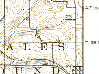 Reduced fragment of topographic map en--usgs--063k--054448--(1913)--N042-30_W090-30--N042-15_W090-15; towns and cities Hanover, Scales Mound, Bellevue