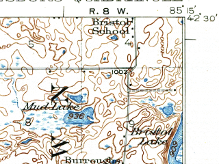Reduced fragment of topographic map en--usgs--063k--054449--(1918)--N042-30_W085-30--N042-15_W085-15 in area of Gull Lake, Morrow Lake; towns and cities Augusta, Galesburg, Greater Galesburg