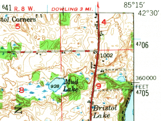 Reduced fragment of topographic map en--usgs--063k--054449--(1947)--N042-30_W085-30--N042-15_W085-15 in area of Gull Lake, Morrow Lake; towns and cities Level Park, Richland, South Gull Lake