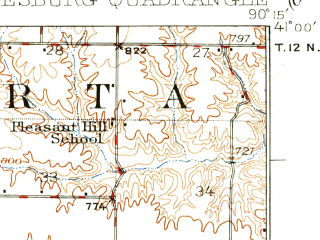 Reduced fragment of topographic map en--usgs--063k--054450--(1927)--N041-00_W090-30--N040-45_W090-15; towns and cities Galesburg, Abingdon, East Galesburg, Knoxville