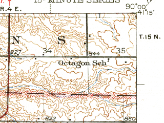 Reduced fragment of topographic map en--usgs--063k--054460--(1944)--N041-15_W090-15--N041-00_W090-00; towns and cities Oneida, Victoria, Altona