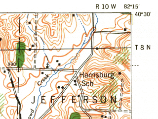 Reduced fragment of topographic map en--usgs--063k--054461--(1943)--N040-30_W082-30--N040-15_W082-15; towns and cities Mount Vernon, Martinsburg, Danville, Gambier