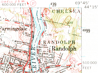 Reduced fragment of topographic map en--usgs--063k--054483--(1957)--N044-15_W070-00--N044-00_W069-45 in area of Pleasant Lake; towns and cities Gardiner, Randolph, Richmond